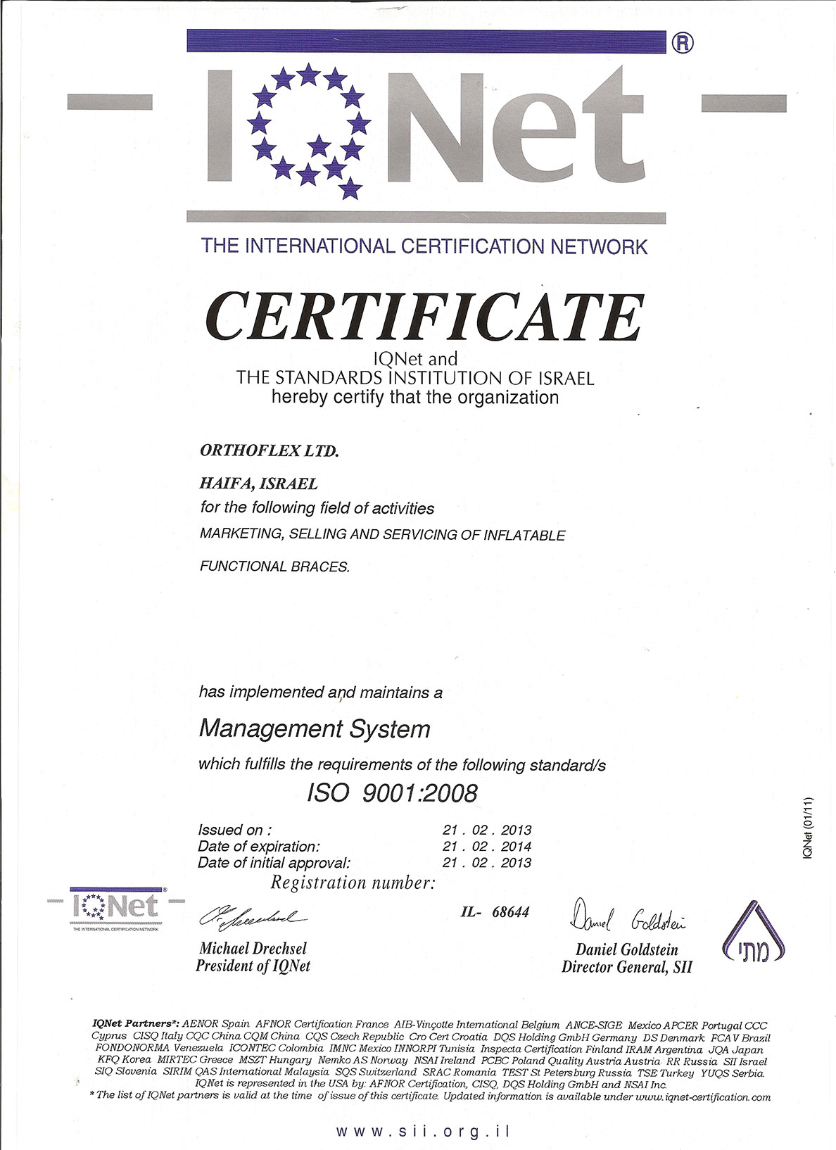 Orthoflex ISO9001:2008 English Certificate